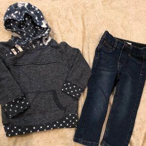 Oshkosh sweater and Hudson jeans for boys